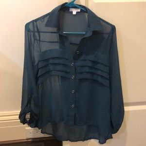 TCEC teal blouse with ruffle